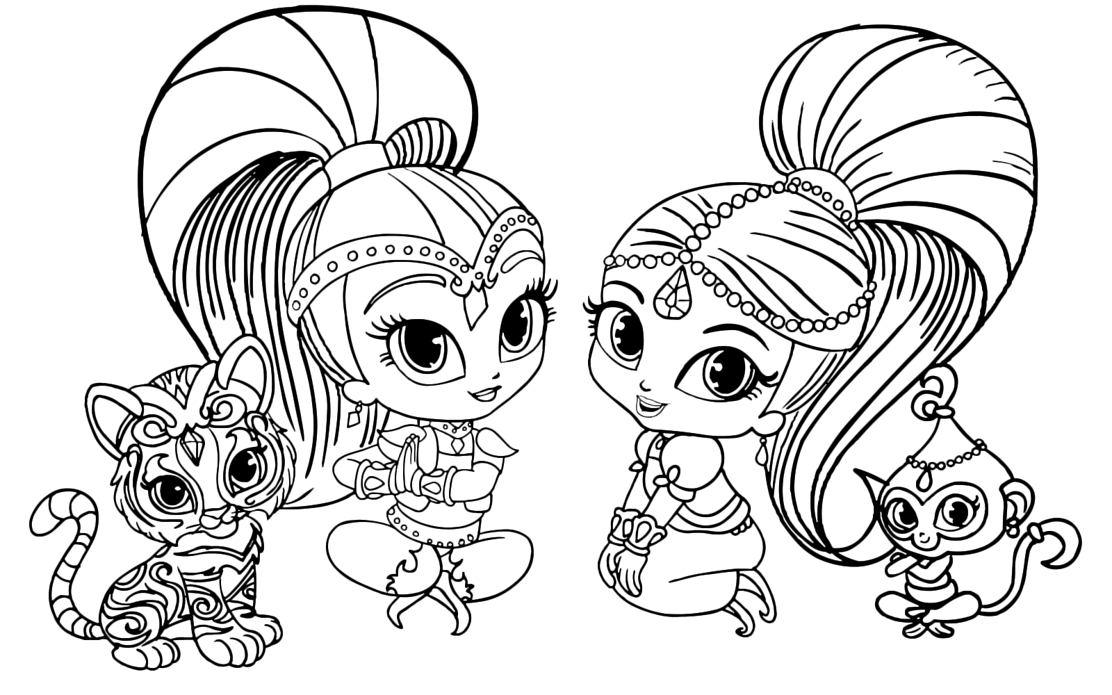 Shimmer and shine shimmer and shine sedute con tala e nahal for Shimmer and shine da colorare
