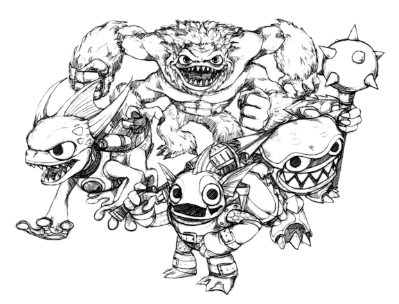 Skylanders giants coloring pages drobot wow pow ~ Skylanders - Spyro Acqua - Slam Bam - Zap - Wham Shell ...
