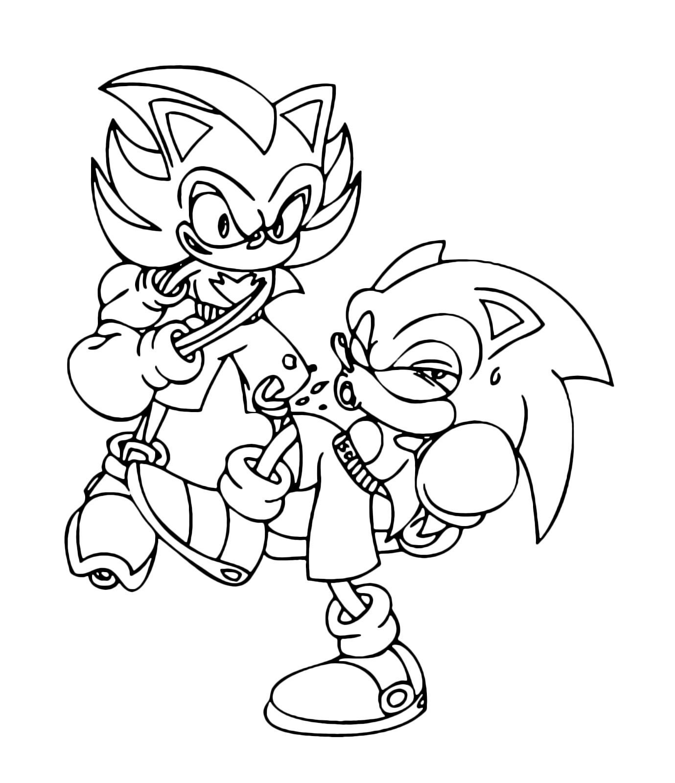 Monster sonic coloring pages ~ Sonic Boom - Shadow tira un pugno a Sonic
