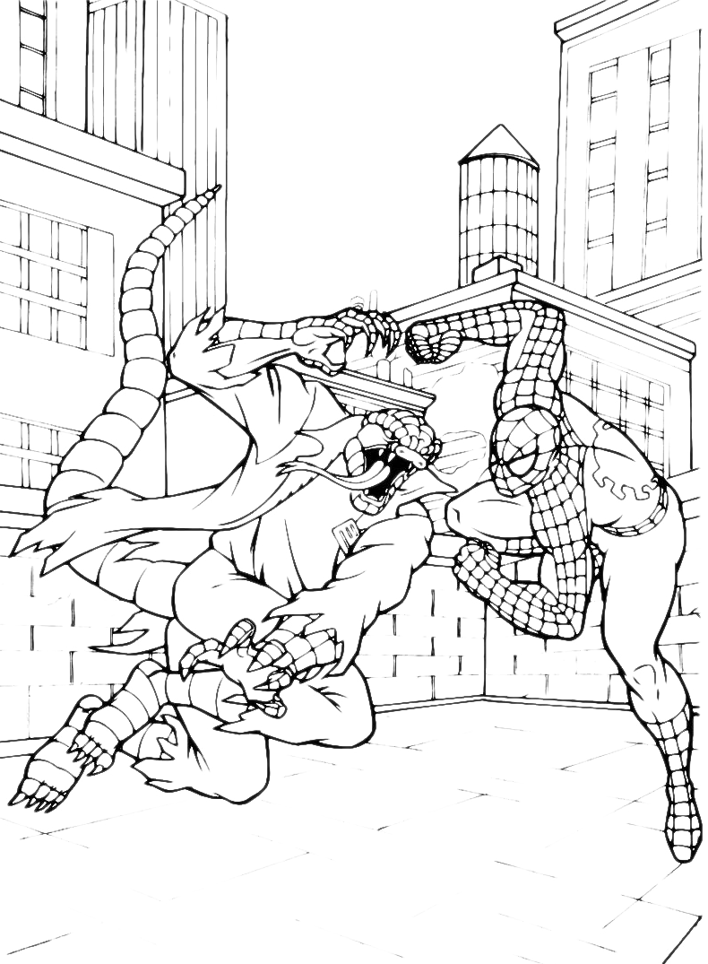 Spiderman spiderman contro lizard for Spiderman 3 da colorare