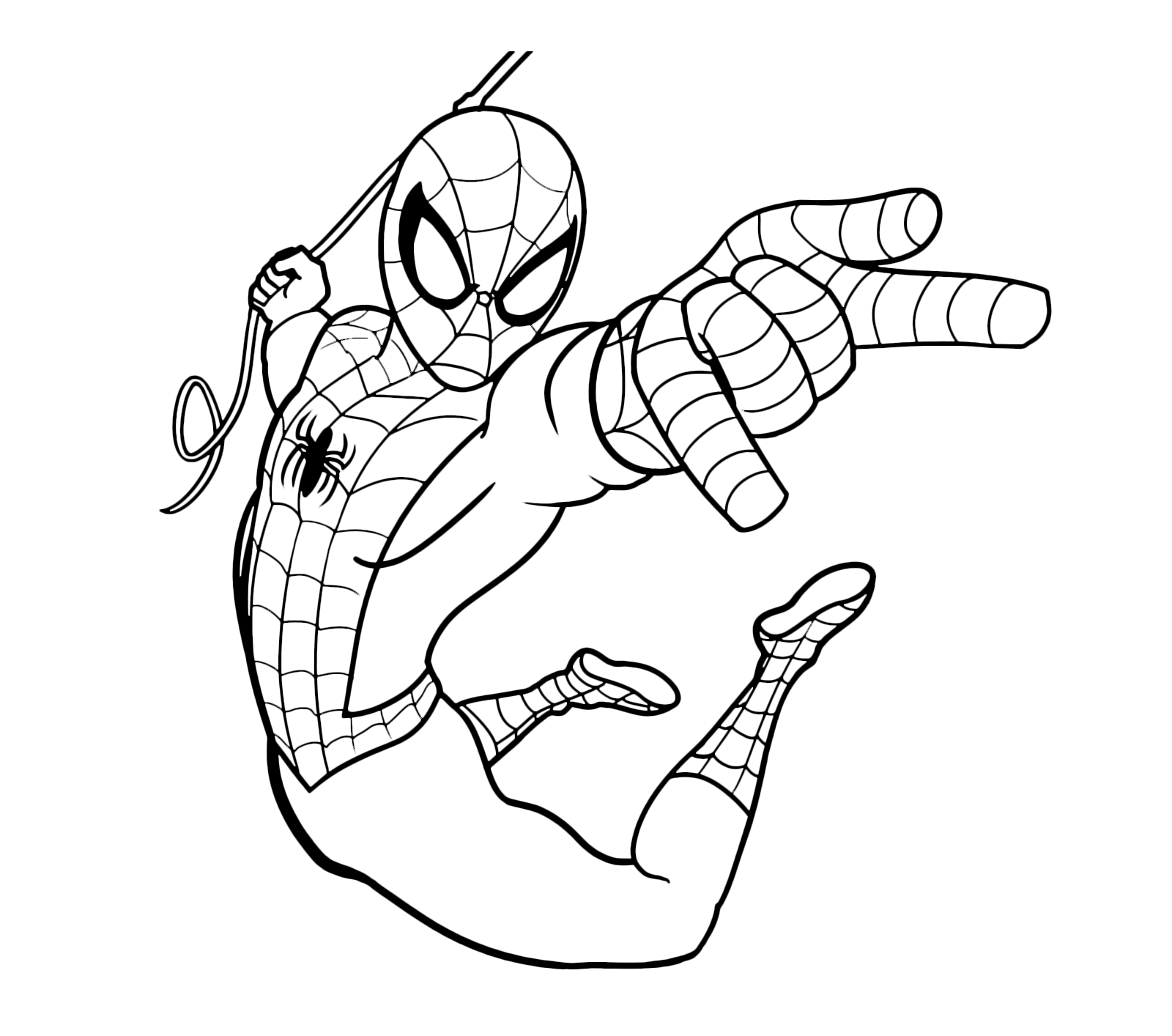 Spiderman spiderman lancia la ragnatela mentre in volo for Disegni spiderman da colorare