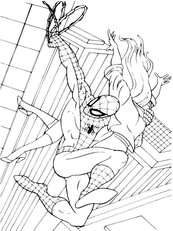 Spiderman spiderman salva una ragazza volando con la for Spiderman da colorare