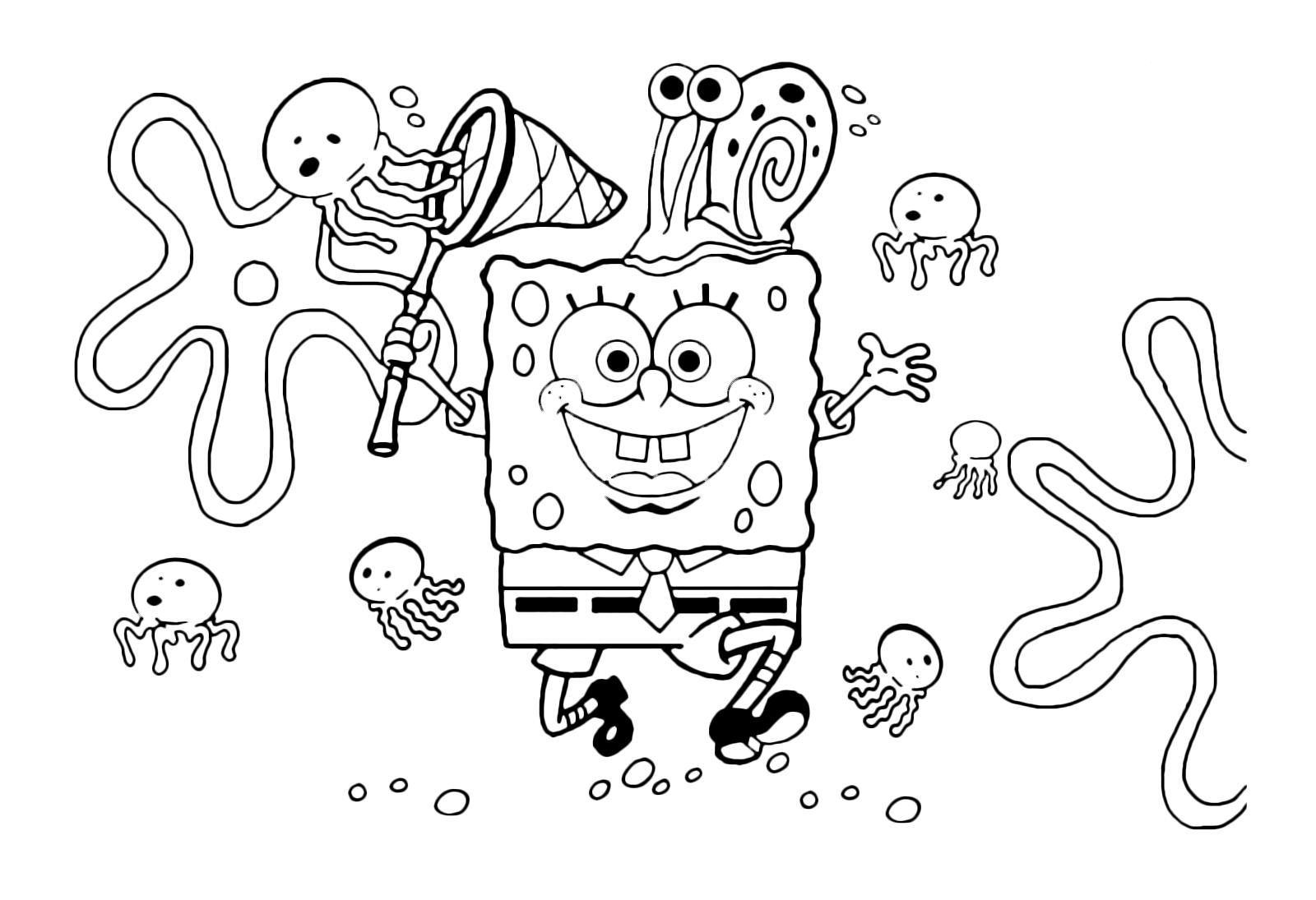 Spongebob spongebob cammina in mezzo alla meduse con un for Spongebob da disegnare
