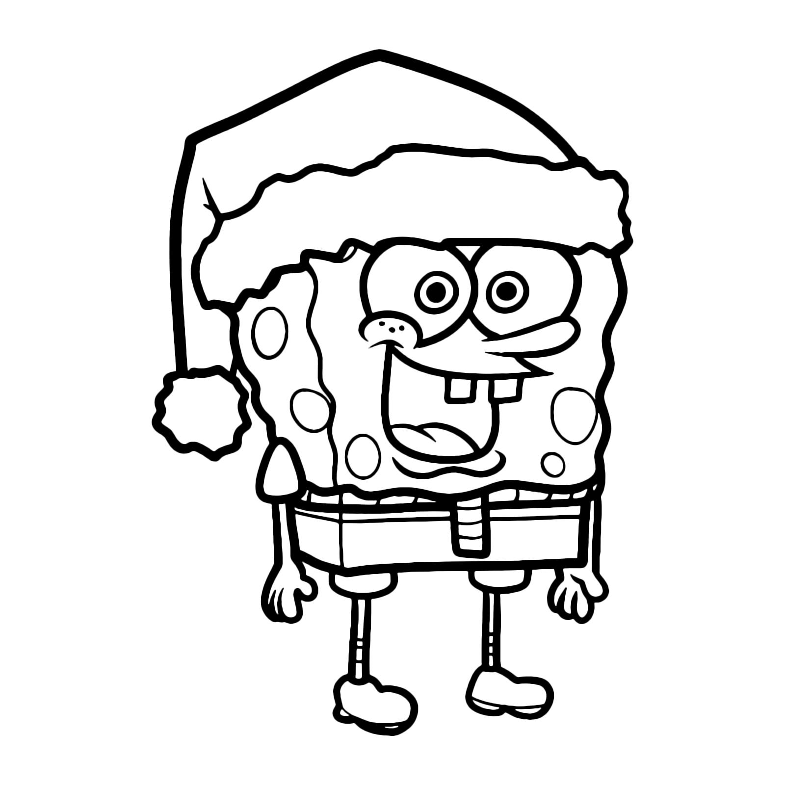 Spongebob spongebob con il cappellino di babbo natale for Disegni spongebob