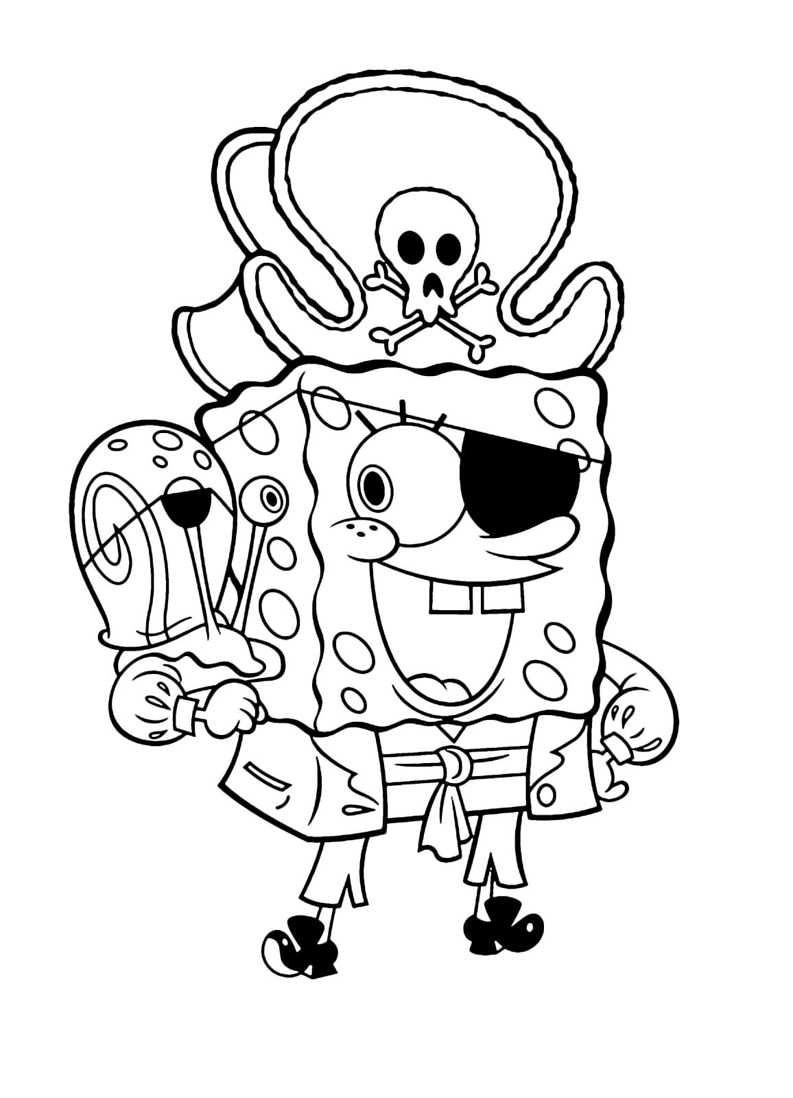 Spongebob spongebob vestito da pirata con gary la lumaca for Disegni spongebob