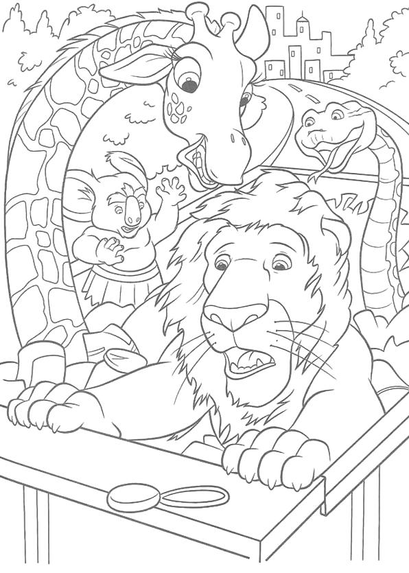 Disegni di uno zoo in fuga da colorare - Pagina da colorare camion della spazzatura ...