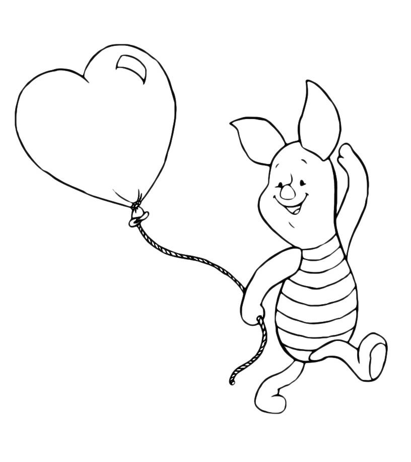 Winnie the pooh pimpi cammina con un palloncino a forma for Disegni da colorare con cuori