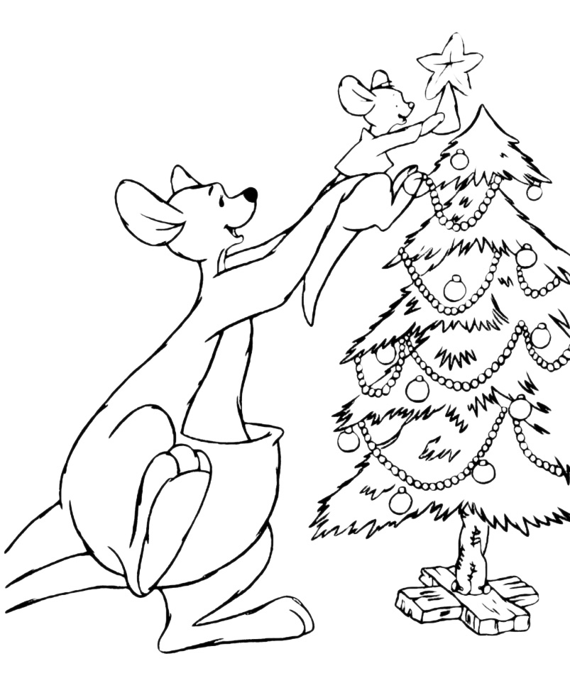 Disegni Di Natale Winnie Pooh.Winnie The Pooh Ro E Kanga Addobbano L Albero Di Natale