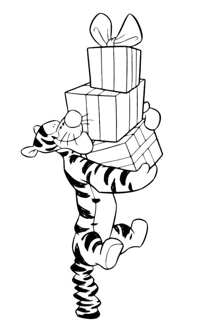 Disegni Di Natale Winnie Pooh.Winnie The Pooh Tigro Con I Regali Di Natale
