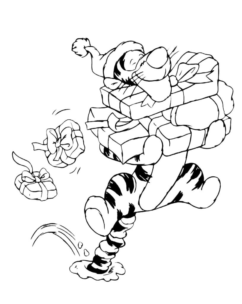 Disegni Di Natale Winnie Pooh.Winnie The Pooh Tigro Porta I Regali Di Natale