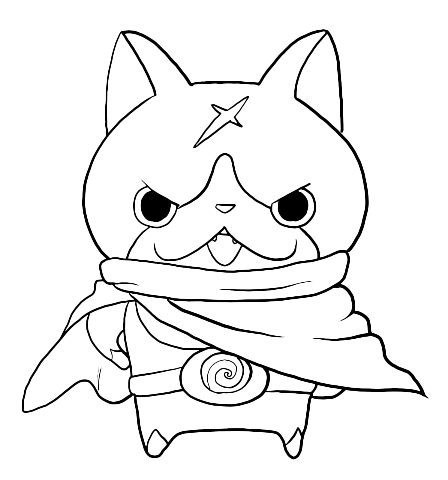 Yo kai watch yo kai hovernyan con il suo mantello for Yo kai watch coloring pages