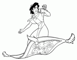 aladdin e abu volano sul tappeto magico