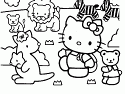 Hello Kitty con gli animali dello zoo
