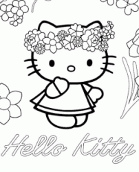 Hello Kitty con la corona di fiori in testa