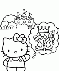 Hello Kitty davanti al castello