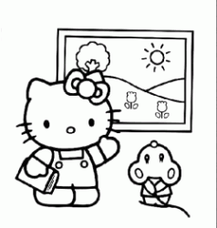 Hello Kitty guarda un quadro
