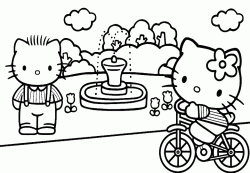 Hello Kitty in bicicletta