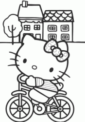 Hello Kitty in bicicletta davanti alle case