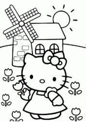 Hello Kitty nel campo di tulipani