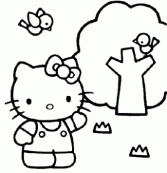 Hello Kitty vicino all'albero