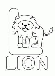 Lettera L in stampatello di lion (leone) in Inglese