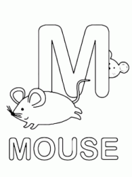 Lettera M in stampatello di mouse (topo) in Inglese