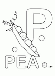 Lettera P in stampatello di pea (pisello) in Inglese