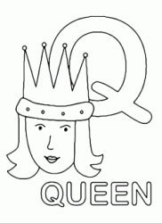 Lettera Q in stampatello di queen (regina) in Inglese