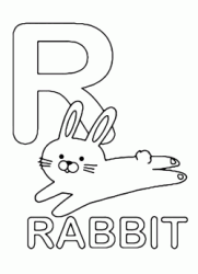 Lettera R in stampatello di rabbit (coniglio) in Inglese