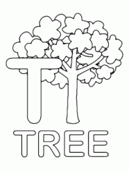 Lettera T in stampatello di tree (albero) in Inglese