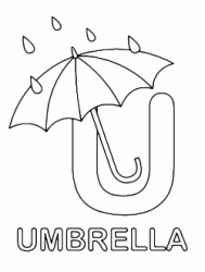 Lettera U in stampatello di umbrella (ombrello) in Inglese