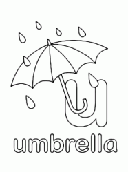 Lettera u in stampato minuscolo di umbrella (ombrello) in Inglese