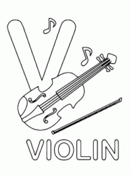 Lettera V in stampatello di violin (violino) in Inglese