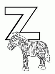 Lettera Z di zebra in stampatello