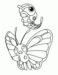 Butterfree assieme a Caterpie