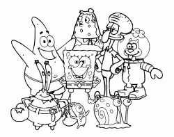 SpongeBob con Patrick Gary Sandy Squiddi Mrs Puff Mr Krabs e Plankton